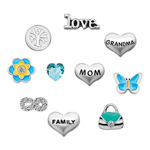 JewelryHouse Family Tree Mom Infinity Love Floating Charms for Glass Living Memory Lockets Necklace
