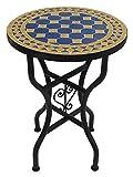 Saharashop Marokkanischer Mosaiktisch Rund Ø 40 cm Blau-Gelb, Terrassentisch, Gartentisch, Mediterraner Fliesentisch, Beistelltisch-Handarbeit, Balkontisch Bistrotisch Kaffeetisch