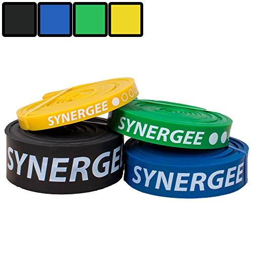 Synergee Set of 4 Pull Up Assist Bands - Heavy Duty Resistance Super Bands - Power Band Resistance Loop Exercise Bands Mobility & Powerlifting Bands - Perfect for Stretching & Resistance Training