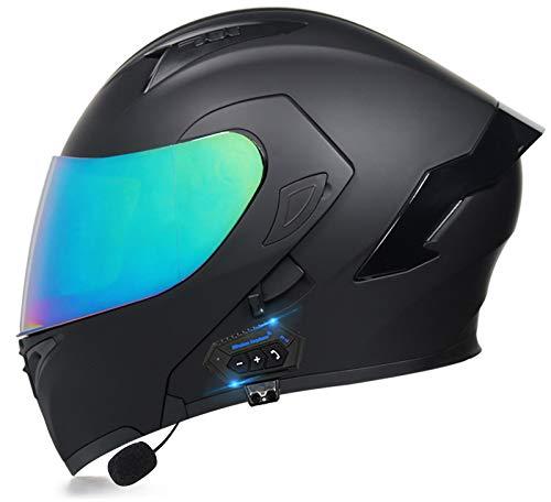 STRTG Motorradhelm Helm Motorrad mit Bluetooth Headset Klapphelm mit Doppelvisier mit Eingebautem Mikrofon für Automatische Reaktion für Frauen Männer Erwachsene, ECE-Zertifizierung K,M