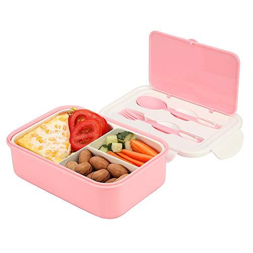 Brotdose, Bento Box Lunchbox Mit 3 Fächern und Besteck,1000ml Vesperdose, Mikrowelle Heizung Für Kinder Und Erwachsene (Rosa)