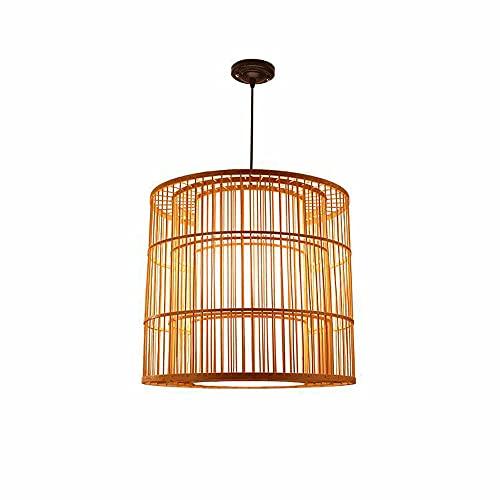 ZHANGL Moderno y simple Lámpara de araña de bambú creativa E27 Personalidad Restaurante Restaurante Lámpara de mimbre de bambú hecha a mano Pasillo Sala de té Estudio Lámpara de techo Altura ajustable