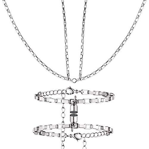 Whaline Magnetic Couple Necklace Bracelets Set Titanium Steel Relationship Matching Necklace BraceletMutual Attraction Rope Bracelet Necklace Set for Women Men Boyfriend Girlfriend Best Friends Gift