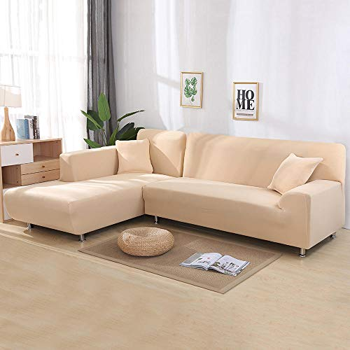 flqwe Smooth Polyester Pieces Sofa Cover,Sofa cover gedrukt L vorm, fauteuil cover voor hoekbank, Omkeerbare Slipcover Meubelbescherming Cove