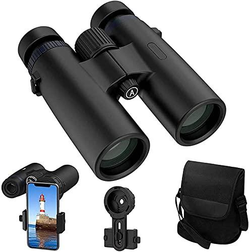 FZMT Binoculares para Adultos 10X42 HD Binoculares Profesionales para observación de Aves Viaje Concierto de Caza de Estrellas con instalación de teléfono con Bolsa de Transporte