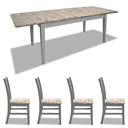 Florence grey rectangular extending table and 4 country style dining chairs. Grey dining table and chair set.