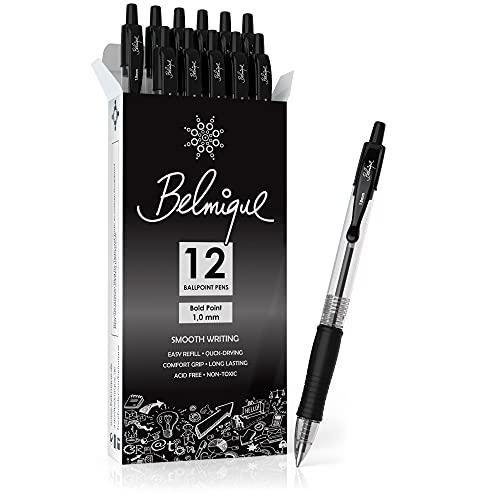 Belmique Kugelschreiber Schwarz 1MM - 12er Set Kugelschreiber. Extra Weich mit einziehbarer Stiftspitze für ein tolles Schreiberlebnis