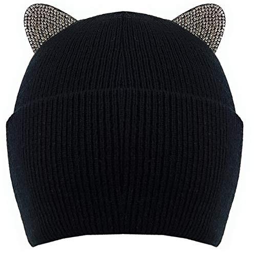 Bonnet en maille fine doublée avec oreilles de chat aspect diamant - Noir - Taille Unique