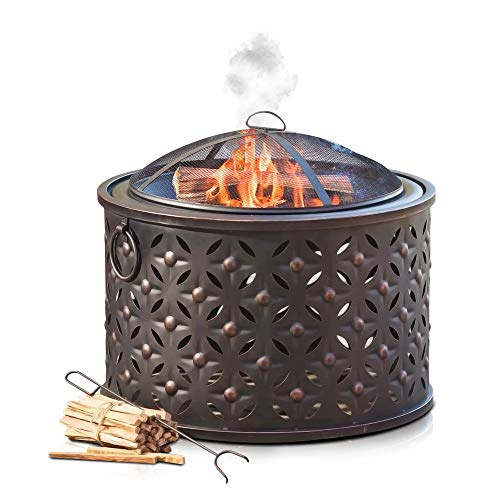 LIVIVO 'Rombo' Fire Pit Brazier with Mesh Spark Guard, BBQ Grill Insert and Metal Fire Poker/Iron