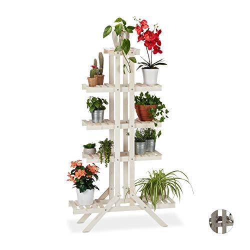 Relaxdays Blumentreppe 5 Stufen, Holz, für innen, freistehend, Shabby-Chic, HxBxT: 142 x 83 x 25 cm, Blumenregal, weiß
