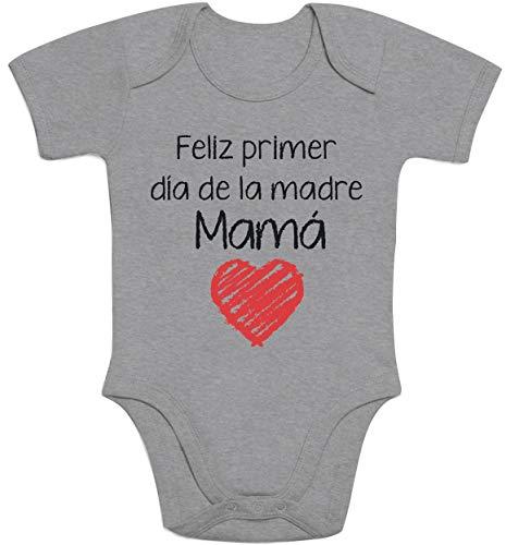 Regalo - Feliz Primer día de la Madre Mamá Body bebé Manga Corta 3-6 Meses Gris
