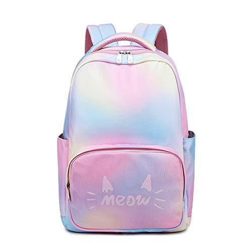 JenLn Mochila para niñas Bolsas de Libros Escolares Mochilas para niñas para Mujeres universitarias elementales Mujeres portátiles (Color : Rainbow, Size : 28x14x40cm)