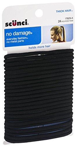Scunci Effortless Beauty Thick Hair No-damage Black Elastics, 24 Count