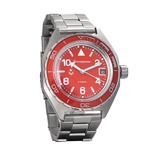 Vostok Komandirskie automático 24 horas Dial ruso militar reloj de pulsera WR 200m