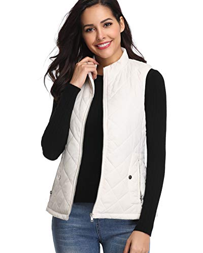 Fuinloth Women's Padded Vest, Stand Collar Lightweight Zip Quilted Gilet White L
