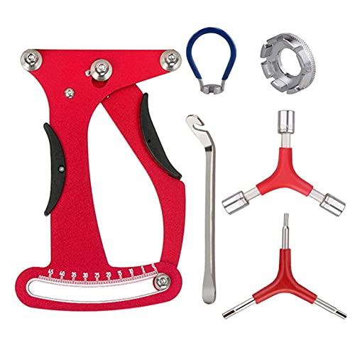 Enjoyfeel Kit de llaves de medidor de tensión para bicicleta de montaña, herramienta de reparación de bicicleta de montaña, reutilizable, resistente a la abrasión, no se deforma y se descolora (rojo)