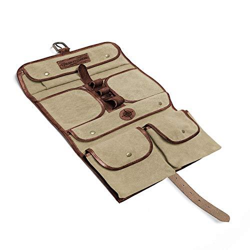 DRAKENSBERG Wash Bag - Borsa da bagno da appendere, sacchetto di toilette militare, stile safari vintagei, per donna e uomo, realizzata a mano in tela e pelle, beige kaki, marrone, DR00166
