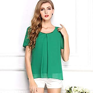 Y&D Women's Round Neck Short Sleeve Chiffon Top Solid Color Hollow Out Blouse Color