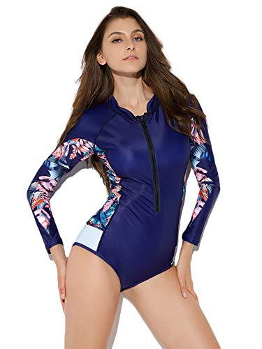 YANNUO Womens Rash Guard Long Sleeve One Piece Swimsuit Zipper Front UV Surfing Bathing Suit UPF 50 L Blue 0217