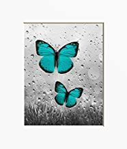 Teal Butterflies Wall Decor for Bathroom Bedroom, Decorative Teal Gray Wall Art Original Handmade Artwork, 5x7, 8x10, 11x14, Matted Pictures with Options