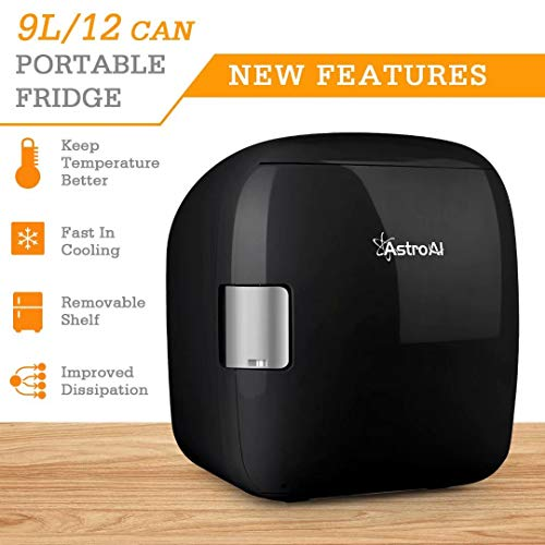 41Z4QviVYZL - AstroAI Mini Refrigerador Portátil para el Skincare 9L, Mini Neveras 220V/12V para Enfriar y Calentar (negro)