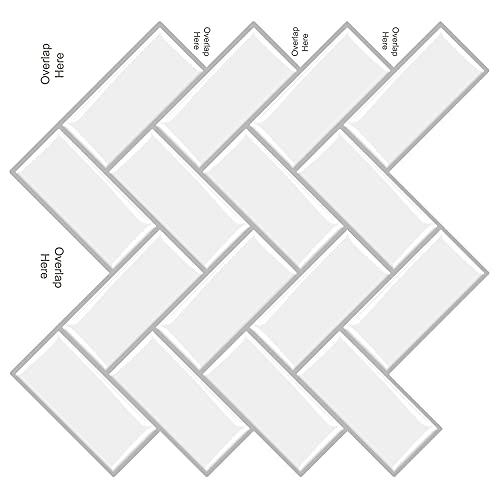 MORCART タイルシール キッチン 耐熱 4枚 洗面所 防水 モザイクタイルシール はがせる 3D 剥がせる 壁紙シール DIY リメイクシート( 30.5x30.5cm,北欧,ホワイト,ヘリンボーン)