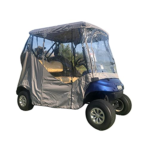 team golf golf carts Formosa Covers | Golf Cart Driving Enclosure 2 Seater Heavy Duty, fits E Z GO, Club Car and Yamaha G Model All Weather - New Stronger YKK Door Zipper (Grey)