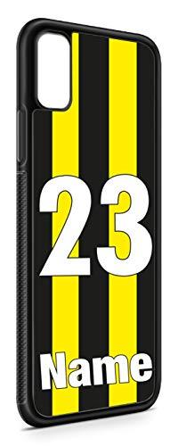 aina Kompatibel mit Samsung Galxy A50 Silikon Handyhülle Flexibles Slim Case Cover Trikot Fußball eigener Name Schwarz Gelb