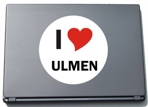 Indigos I Love Aufkleber Decal Sticker Laptopaufkleber Laptopskin 297 mm mit Stadtname ULM