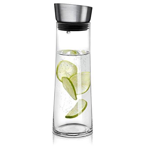 Navaris Glaskaraffe aus Borosilikatglas 0,8L Glaskrug - Wasser Karaffe mit Deckel - Glas Behälter Wasserkaraffe Wasserflasche - Tee Krug Ausgießer