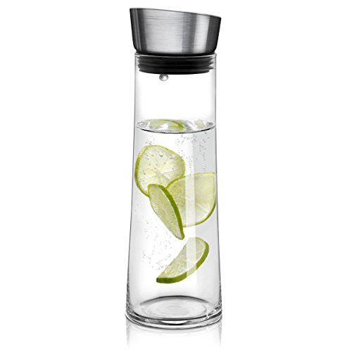 Navaris Jarra de cristal de 0.8 L para agua - Botella de vidrio con tapa de metal - Jarra para agua té zumo - Garrafa para bebidas frías y calientes