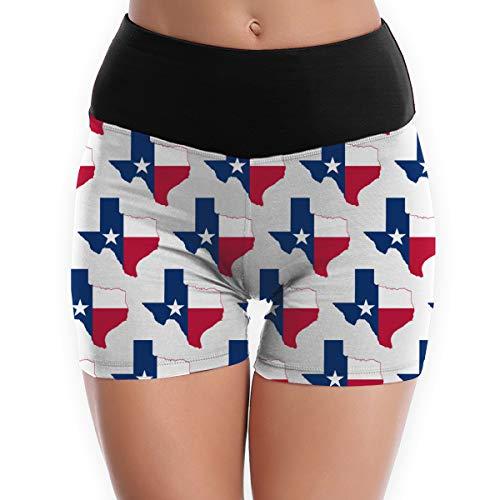 NiYoung Women Girls Compression Shorts High Waist Yoga Shorts Lightweight Tummy Control Workout Athletic Running Fitness Shorts - XL, Texas Flag Map
