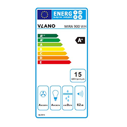 VLANO MIRA 900 WH / * EEK A+ * / Kopffreie Dunstabzughaube / 90 cm/weiß Glas Design/Touch Control/ECO LED / 43 dB (A) / Extra leiser Brushless Motor/Abluft/Umluft / (90 cm) - 6