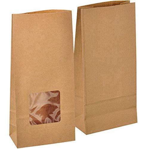 kgpack 50 Stk. Papiertüten klein mit Fenster 12 x 25 x 6 cm Bodenbeutel Obstbeutel Mitgebseltüten Butterbrottüten Süßigkeiten Geschenkverpackung Gastgeschenke Tüten aus Braun Kraft Geschenkpapier