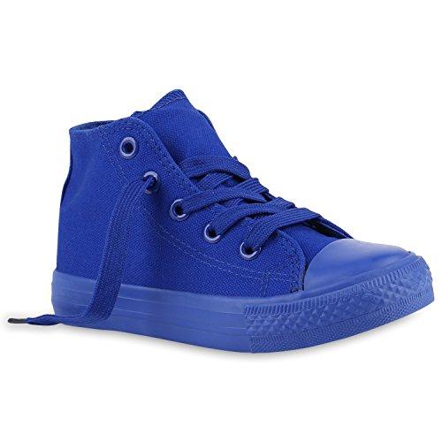 Stiefelparadies Kinder Sneakers High Top Turnschuhe Stoffschuhe Schnürschuhe 140019 Blau Blau 25 Flandell