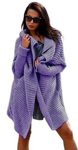 Damen Frauen Cardigan Lang Pulli Pullover Strickjacke Wasserfall Oversize Cardigan Damen Strick S M L XL36 38 40 42 (665)(Violet)