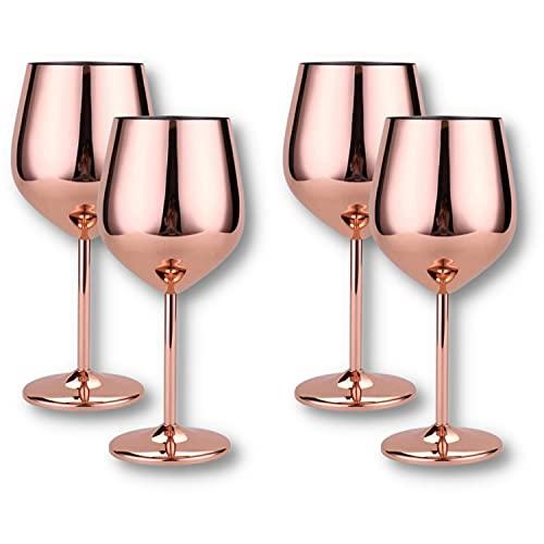 Juego de 4 copas de vino grandes de acero inoxidable, 500 ml, color dorado, plateado y rosa