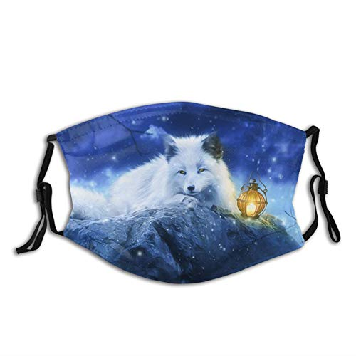 White Fox Art Face Mask With Filter Pocket Washable Face Bandanas Balaclava Reusable Fabric Mask For Men Women