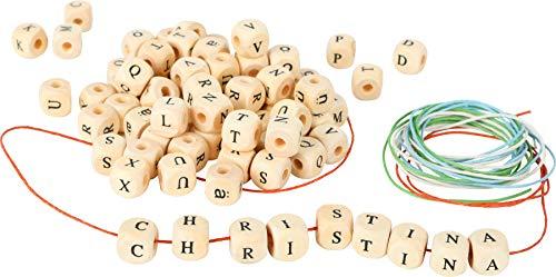 Small Foot 7553 Set de Perles alphabet , 300 perles de bois avec des rubans à enfiler, à partir de 3 ans