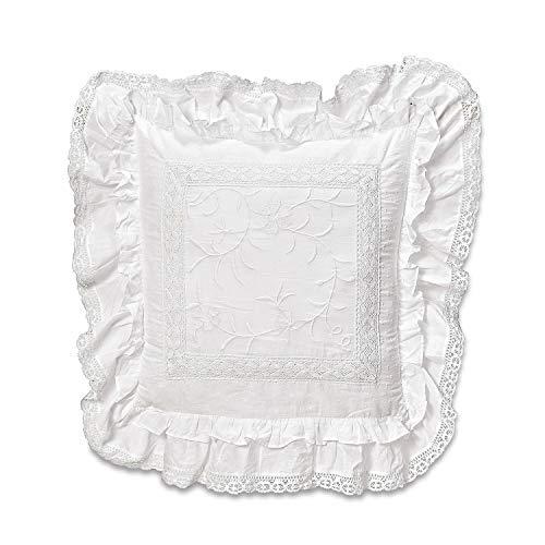 Loberon Kissen Marbury, Baumwolle, Polyester, H/B ca. 50/50 cm, weiß