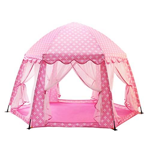 CSQ Kindergarten Zelte, Kinderzelt, Hexagonal-Zelt Haus mongolische Jurte Zelte Baby-Nap-Zelt Haube-Zelt-Spiel-Zelt Pop Up Spielhaus für Kinder (Color : Pink, Size : 177 * 110cm)