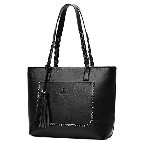AINUOEY Mujer Shoppers y Bolsos de Hombro Bolsos Bandolera Mano Vestir Pequeña Fekete