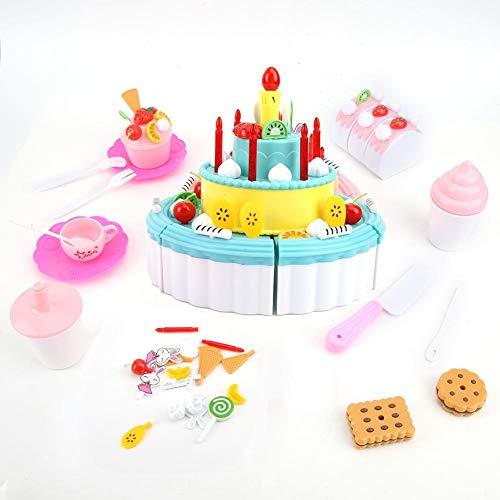 CUEA Jouet de Maison de Jeu de Cuisine, lumière et Son intégrés écologiques, Faux gâteau d'anniversaire en...