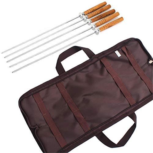 5 barras de barbacoa, barras de barbacoa de acero inoxidable con mango de madera, brochetas de 16 pulgadas con bolsa para asar de camping al aire libre, herramientas de cocina