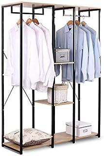 eSituro Portemanteaux en Bois et Acier SGR0022 Portant pour vêtements avec Tablette 120x40x167cm,Noir+Chêne Clair