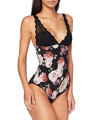 Emporio Armani Underwear Body Ropa Interior, Nero Stampa Fiori - Flores DE Estampado Negro, M para Mujer