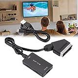 Adaptador de alta definición,Scart a compatible para convertidor de adaptador HDMI,compatible con PAL,NTSC3.58,NTSC4.43,SECAM, entrada de formato de TV estándar,compatible con salida HDMI 1080p / 720p