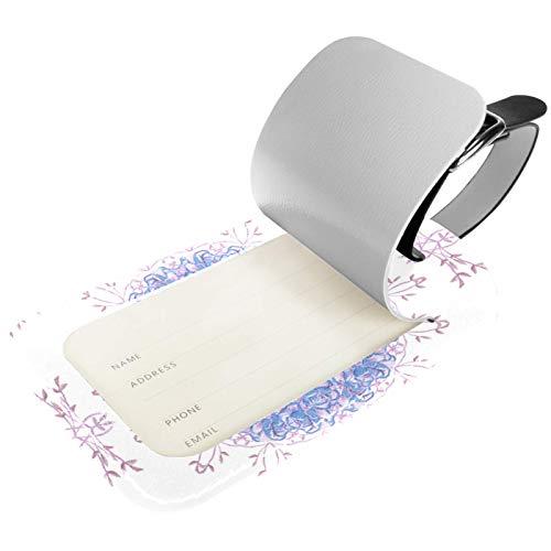 KAMEARI Paquete de 2 etiquetas de equipaje, de piel sintética, etiquetas de identificación con nombre y cubierta de privacidad para bolsa de viaje, maleta, azul, rosa, floral
