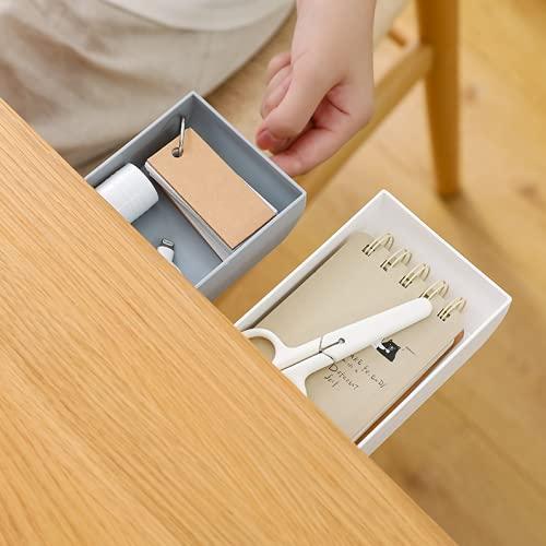 2 Piezas de Organizador Autoadhesivo Debajo del cajón del Escritorio Cajonera Invisible Caja de Almacenamiento de escombros de Escritorio para Oficina, hogar, Escuela (Gris)