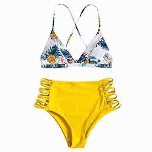 Bandeau-bikiniset voor dames, bandeau, sexy badpak voor dames, gesplitste bikini-yellow_S, zwembroek voor dames